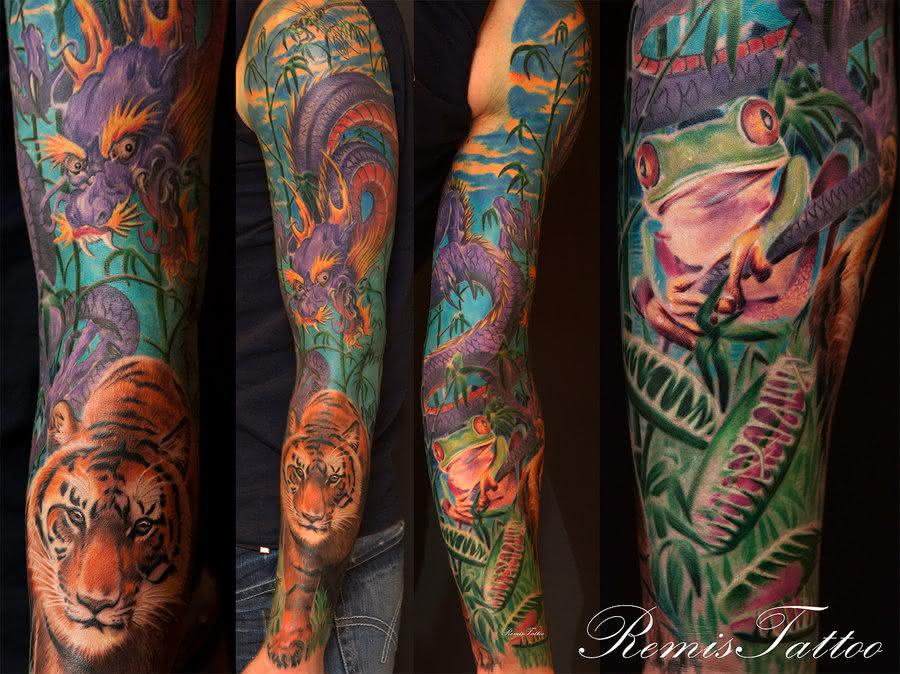 sapo tiger_frog_dragon_dragon_fly_by_remistattoo-d37fznh
