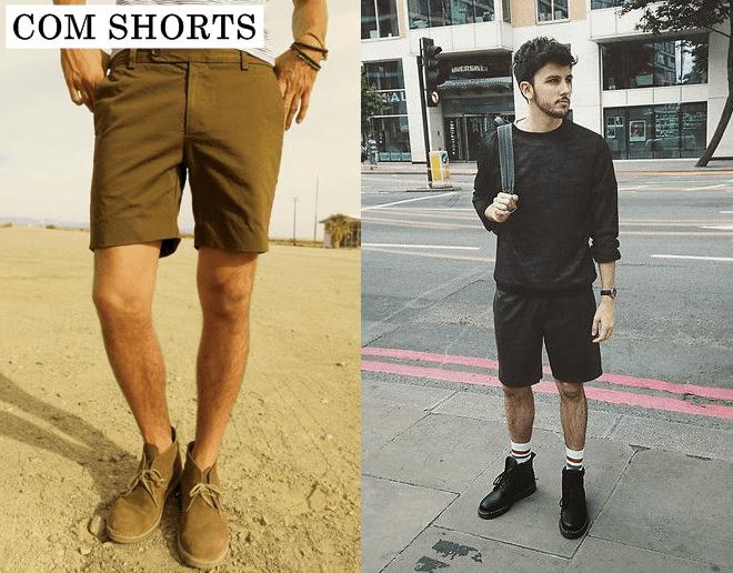 bota masculina com shorts